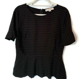 LOFT Ladies Womens Black White Striped Top Size 8